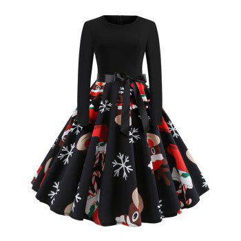 Christmas Print Stitching Long Sleeves and Large Dresses
