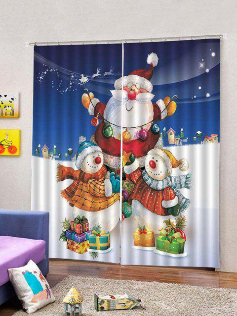 2Pcs Christmas Santa Carrying Gifts Window Curtains - multicolor W33.5 X L79 INCH X 2PCS