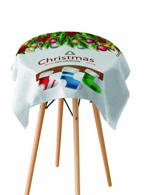 Christmas Stocking Printed Fabric Waterproof Table Cloth - WHITE W60 X L84 INCH