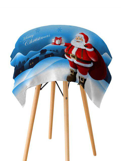 Father Christmas Gift Printed Fabric Waterproof Table Cloth - DEEP SKY BLUE W60 X L84 INCH