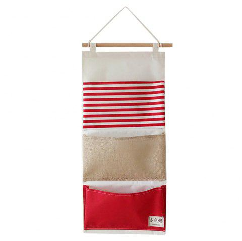 Multi-Functional Stripes Three Lattice Storage Hang Bags - Rouge et Blanc