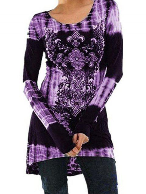 Fashion Printed Long-sleeved Dress - PURPLE 3XL