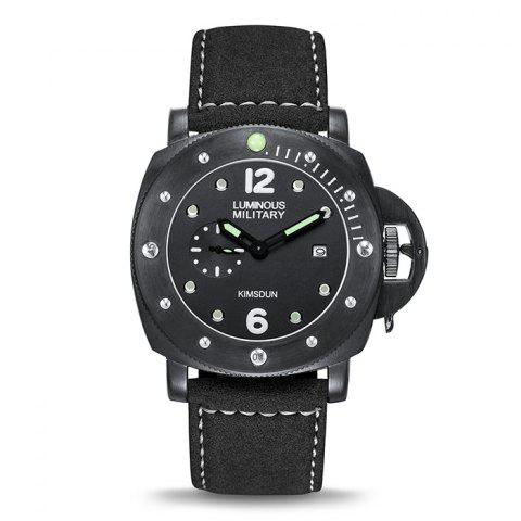 KIMSDUN K-926D Men's Waterproof Luminous Sports Automatic Mechanical Strap Watch - BLACK BLACK CASE