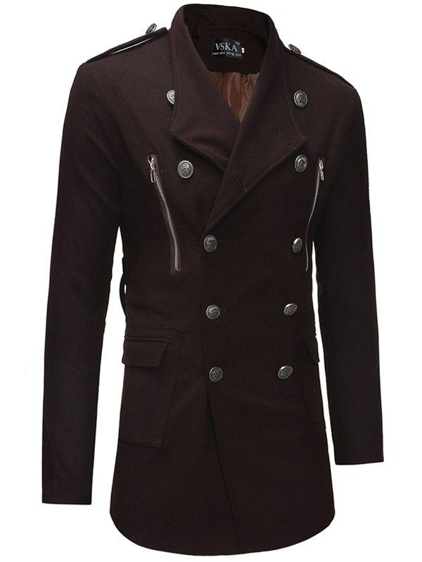 Men Double-breasted Turn-down Collar Slim Trench Coat - COFFEE 2XL