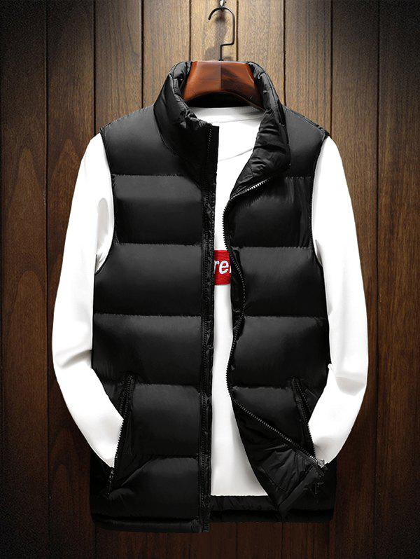 Mens Slimming Down Filled Solid Color Stand Collar Warm Vest