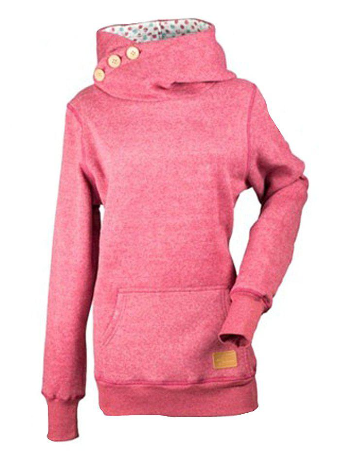 Fashion Solid Color Three Buttons Spelled Leather Long Sleeve Pocket Sweater - PINK 2XL
