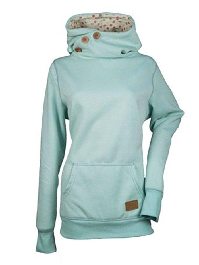 Fashion Solid Color Three Buttons Spelled Leather Long Sleeve Pocket Sweater - PALE BLUE LILY M