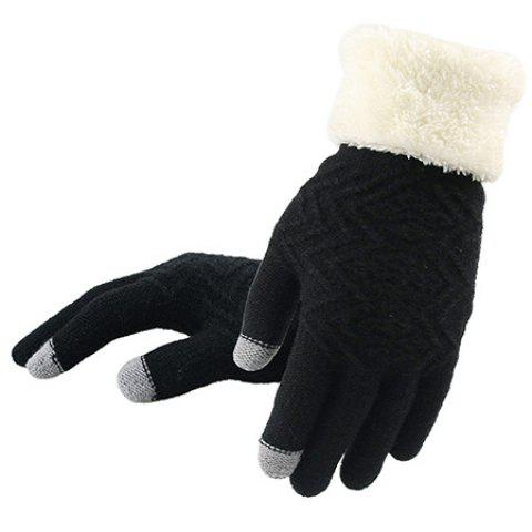 Fashion Knit Winter Warm Gloves for Lady - BLACK