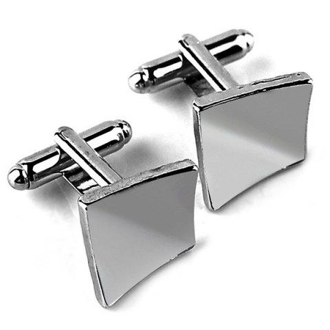 Square Brushed Men's Smooth Cufflinks - SILVER
