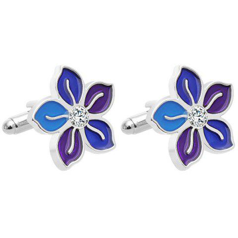 Personality Unisex Flower French Business Shirt Cufflinks 2pcs - SILVER