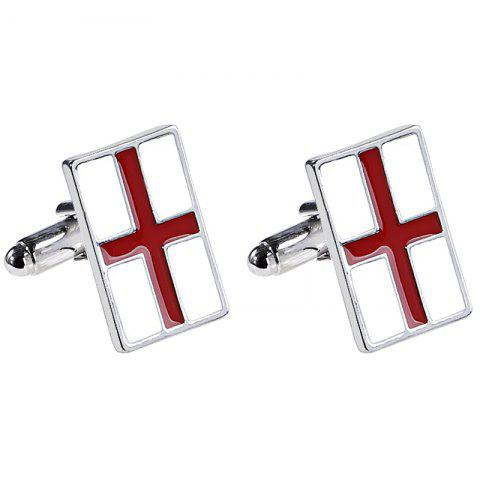 Men's French Shirt Fashion Red Cross Cufflinks - SILVER