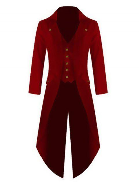 Men's Long Sleeve Solid Color Button Irregular Tuxedo - RED L