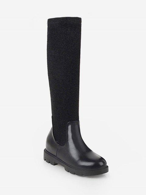 Plus Size Contrast Patch Sock Knee High Boots - BLACK EU 38