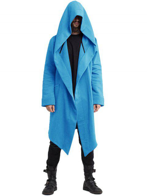 8f550d1bd8 Men s Europe and American Autumn and Winter Solid Color Hooded Long  Cardigan - DEEP SKY BLUE
