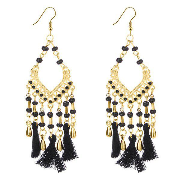 Personality Fashion Tassel Earrings - BLACK