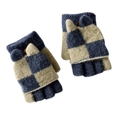 Two-color Stitching with Cover Half Finger Children's Gloves Baby Warm Household Items - BLUE REGULAR