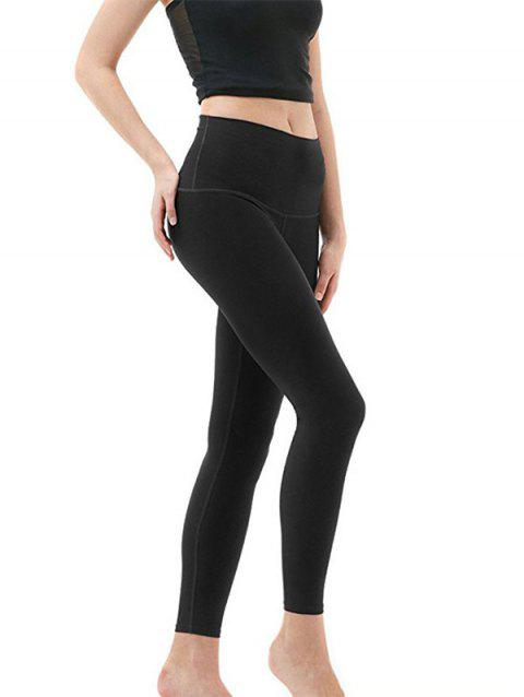 Autumn Yoga Pants Milk Silk Solid Color Tight High Elastic Leggings Ladies - BLACK XL