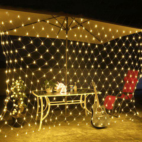 220V Outdoor Fishing Net 96 LED Waterproof Starry Sky Lights for Party Wedding Christmas Decoration - WARM WHITE EU PLUG