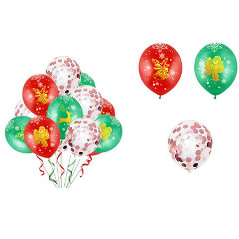 Christmas Balloon Latex 12 Inch Bronze 5 Faces All Printed Color Round Christmas Balloons 34pcs - multicolor A 红绿玫瑰金亮片