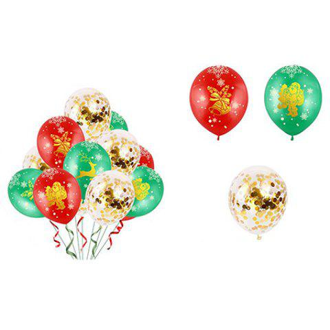 Christmas Balloon Latex 12 Inch Bronze 5 Faces All Printed Color Round Christmas Balloons 34pcs - multicolor A 红绿金色亮片