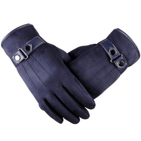 ZT20 Winter Autumn Touch Screen Plus Velvet Warm Thick Driving Casual Cotton Gloves - BLUE
