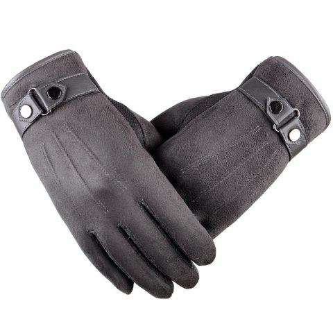 ZT20 Winter Autumn Touch Screen Plus Velvet Warm Thick Driving Casual Cotton Gloves - GRAY