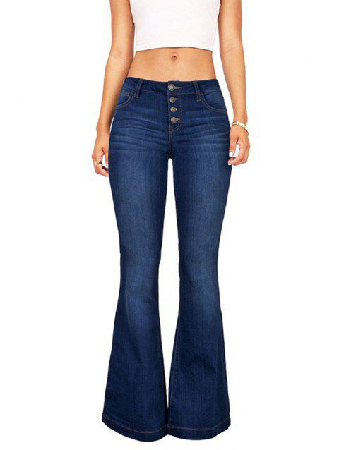 Stitching Tight-fitting Slim Flared Pants - DENIM DARK BLUE 2XL