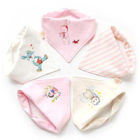 Baby Triangle Cotton Baby Double Button Newborn Child Bib 5pcs - multicolor A