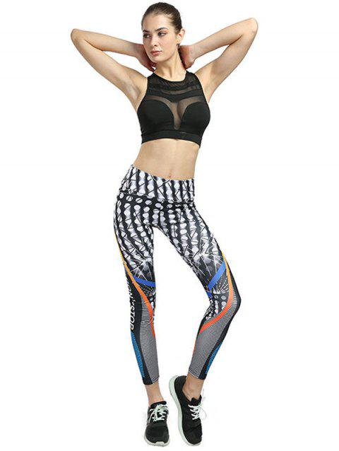 Printed Yoga Sports Hips High Waist Leggings - multicolor A L