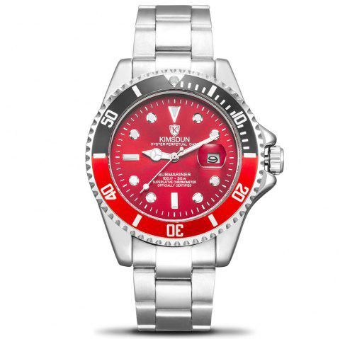 KIMSDUN K - 1022A Water Ghost Solide En Acier Inoxydable Hommes  's Lumineux Lumineux Automatique Montre Mécanique - Noir Profond RED DIAL RED AND BLACK CASE SILVER BAND