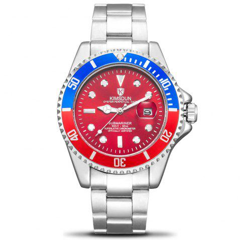 KIMSDUN K - 1022A Water Ghost Solid Stainless Steel Belt Men's Waterproof Luminous Automatic Mechanical Watch - JET BLACK BLUE DIAL BLUE AND RED CASE SILVER BAND