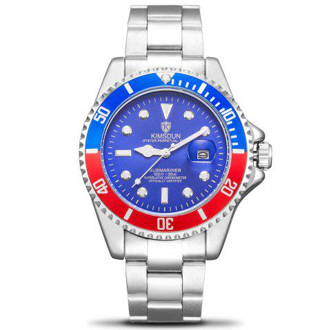 KIMSDUN K - 1022A Water Ghost Solide En Acier Inoxydable Hommes  's Lumineux Lumineux Automatique Montre Mécanique - Noir Profond RED DIAL RED AND BLUE CASE SILVER BAND