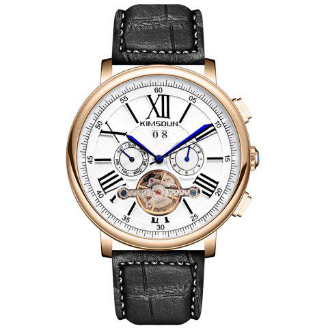 KIMSDUN K-1021D Business Men's Belt Automatic Openwork Tourbillon Mechanical Watch - JET BLACK WHITE DIAL ROSE GOLD CASE BROWN BAND