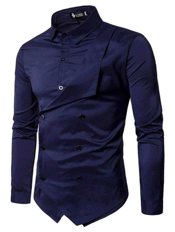 Men Personality Double-breasted Long-sleeved Shirt