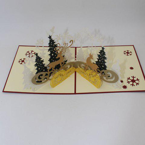 Creative Christmas 3D Laser Hollow Greeting Card Forest Deer Blessing Birthday Gift - GOLD