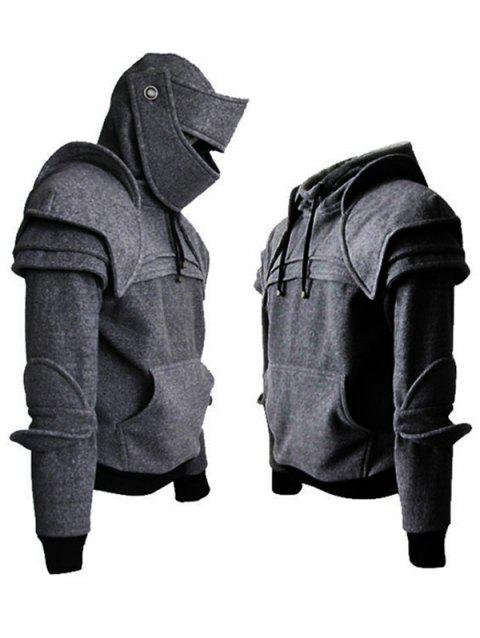 huge selection of 4c187 e6197 Solid Color Men s Retro Elbow Drawstring Mask Knight Hoodie - LIGHT GRAY L