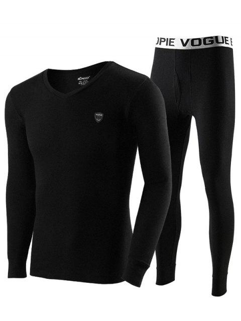 Men Cotton Thermal Underwear Set Base Sweater Youth Slim Autumn Clothes Long Pants - BLACK L