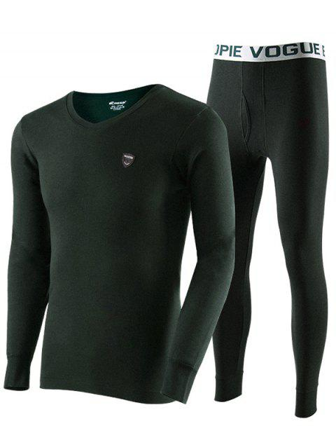 Men Cotton Thermal Underwear Set Base Sweater Youth Slim Autumn Clothes Long Pants - ARMY GREEN 2XL