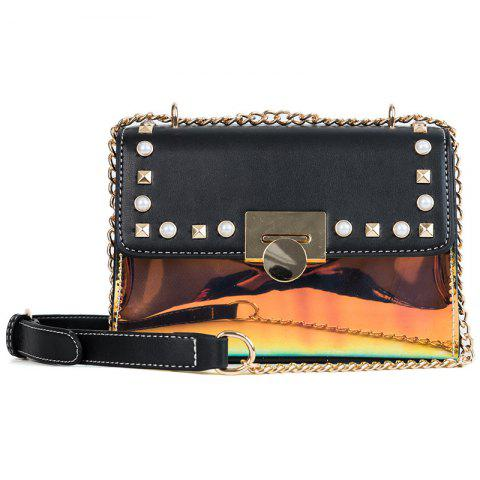 Fashion Square Design Women's Crossbody Bag - BLACK