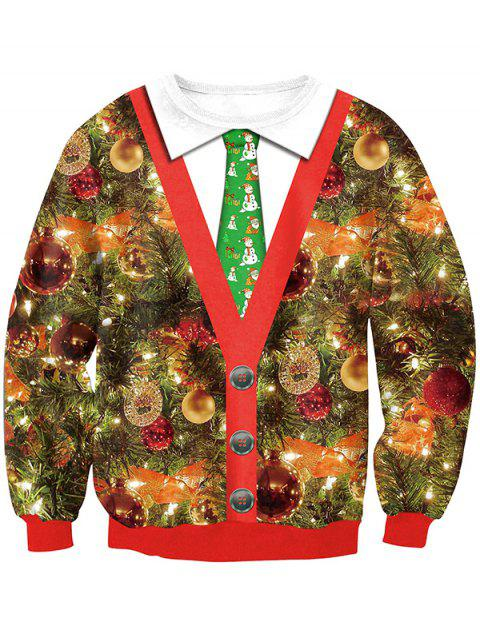 SWYL020 Christmas Tie Round Collar Digital Print Long Sleeve Sweatshirt - RED XL