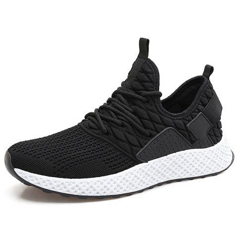 Fly Woven Breathable Casual Sports Shoes for Men - BLACK EU 42