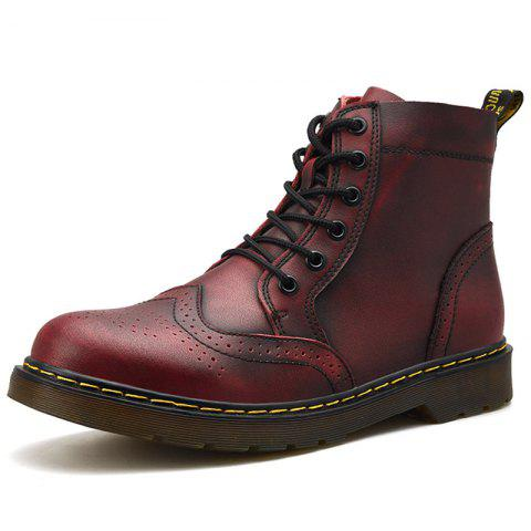 Men Leisure Casual Boots - RED WINE EU 41