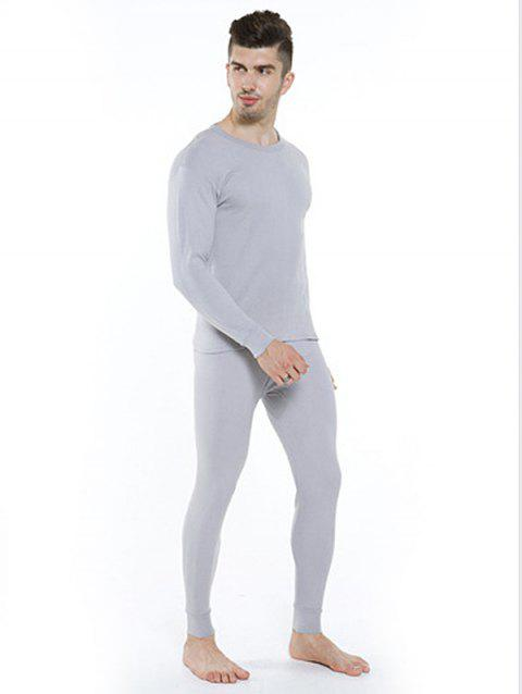 Cotton Thermal Men's Thin Section Autumn Long Underwear - LIGHT GRAY 2XL