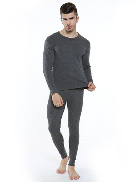Cotton Thermal Men's Thin Section Autumn Long Underwear - DARK GRAY L