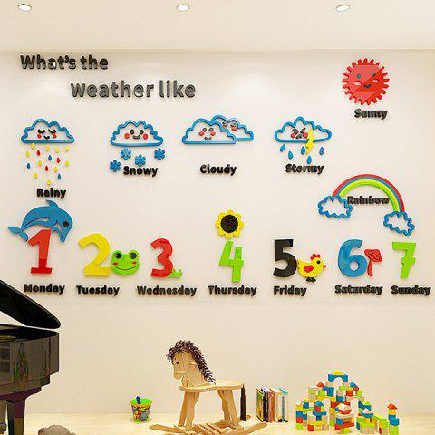 Z1099 Cartoon Weather Early Education Acrylic Stereo Wall Stickers - multicolor S