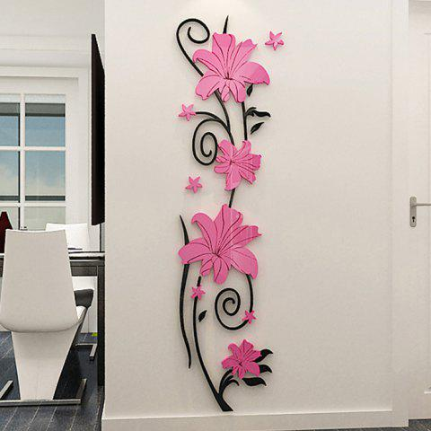 Vertical Flower Vine Solid Wall Stickers - PURPLE MIMOSA S