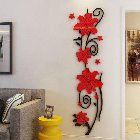 Vertical Flower Vine Solid Wall Stickers - RED S