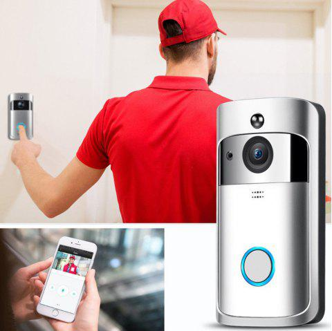 Video Wireless Doorbell 720P HD Home Security Camera with 166 Degree Wide Angle Night Vision PIR Motion Detection App Control for iOS and Android - WHITE