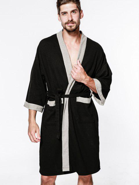 Cotton Men Waffle Robe Bathrobe Sweat Sauna Towel - BLACK 欧码XL