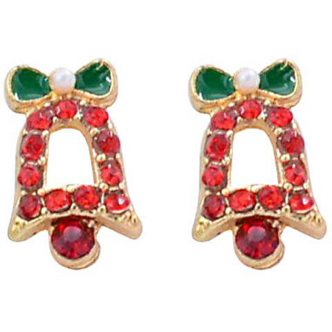 Cute Christmas Bell Diamonds Red Stud Earrings - GOLD